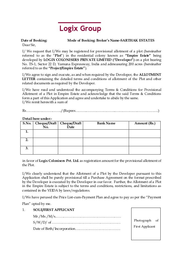 Date of Booking:              Mode of Booking: Broker's Name-SARTHAK ESTATES Dear Sir,I/ We request that I/We may be regis...