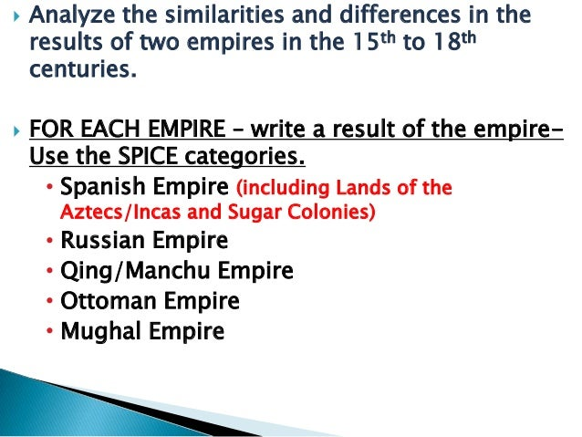 compare the spanish maritime empire and the russian empire Within the period from 1450 to 1800 compare the process (eg political, social, economic) of empire building in the spanish empire with the empire building processes in one of the following: the ottoman empire or the russian empire.