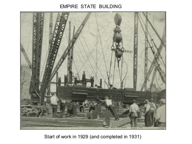 EMPIRE STATE BUILDINGStart of work in 1929 (and completed in 1931)