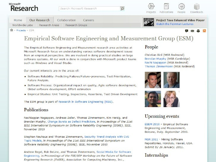 Empirical Software Engineering at Microsoft Research Slide 2