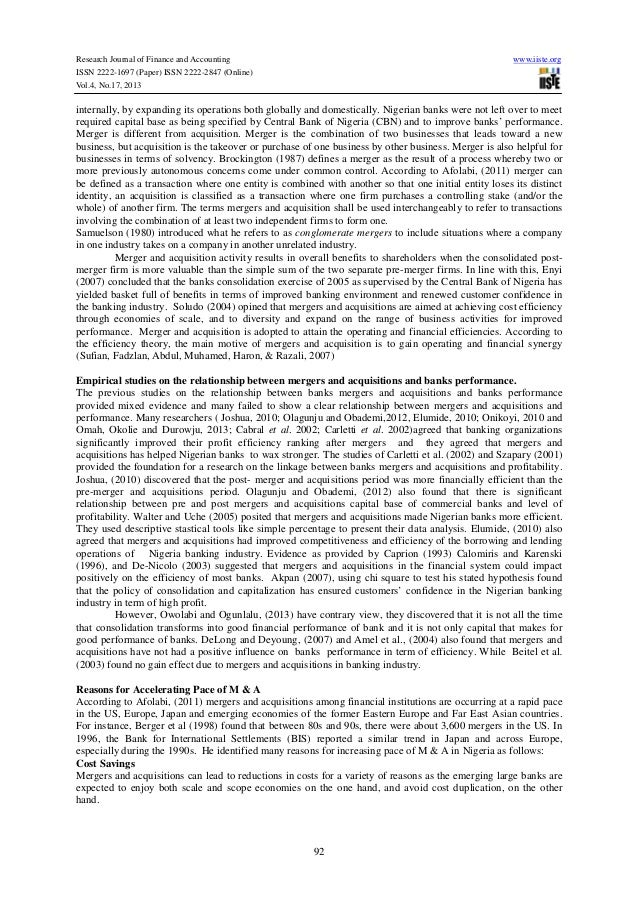 bank merger essay Banking merger ak: the driving force for this merger is to set up a robust bank with a high capital base in brief, the underlying driving factors are to cope with pressures in the form of increasing capital adequacy requirements, tightening prudential norms, and the increasing demands on resources to be committed for technology and.