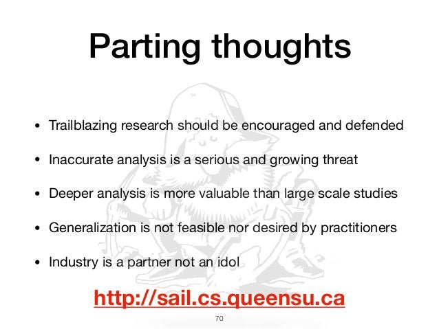 • Trailblazing research should be encouraged and defended  • Inaccurate analysis is a serious and growing threat  • Deeper...