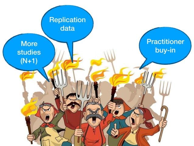 23 Practitioner buy-in More studies (N+1) Replication data