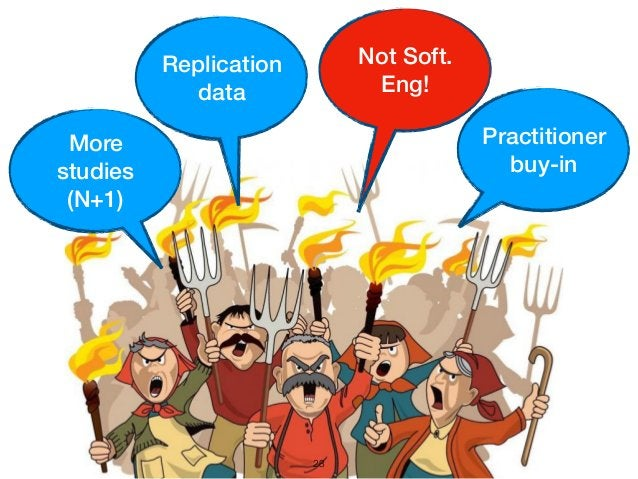 23 Practitioner buy-in More studies (N+1) Replication data Not Soft. Eng!