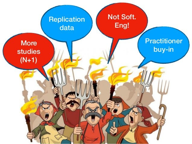 26 Practitioner buy-in More studies (N+1) Replication data Not Soft. Eng!