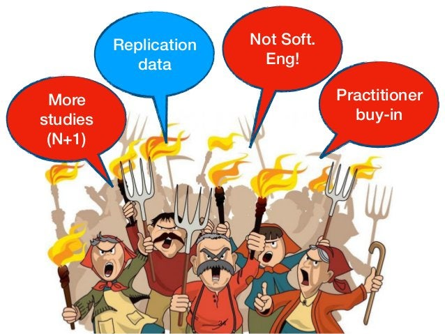 34 Practitioner buy-in More studies (N+1) Replication data Not Soft. Eng!