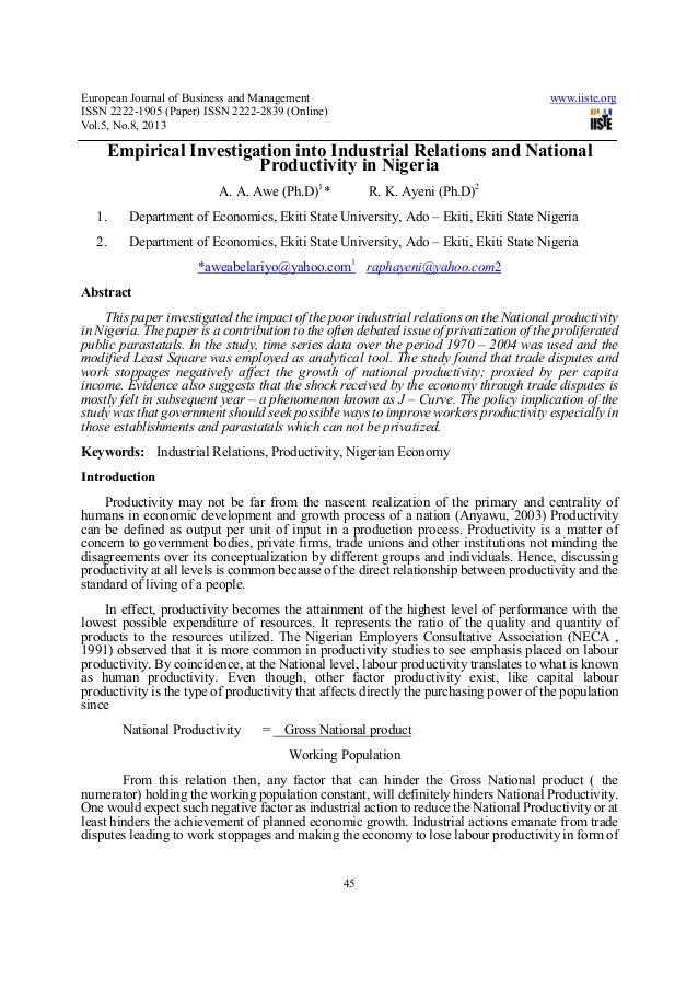 European Journal of Business and Management www.iiste.orgISSN 2222-1905 (Paper) ISSN 2222-2839 (Online)Vol.5, No.8, 201345...