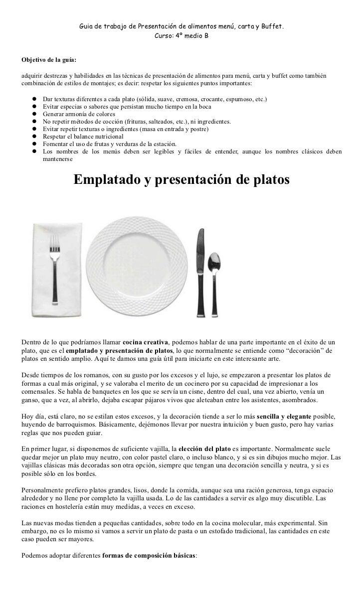 Emplatado y presentaci n de platos for Tipos de platos