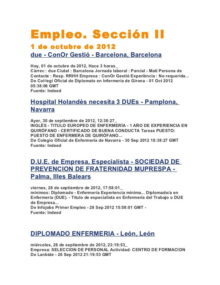 Empleo. Sección II1 de octubre de 2012due - ConOr Gestió - Barcelona, BarcelonaHoy, 01 de octubre de 2012, Hace 3 horasCàr...