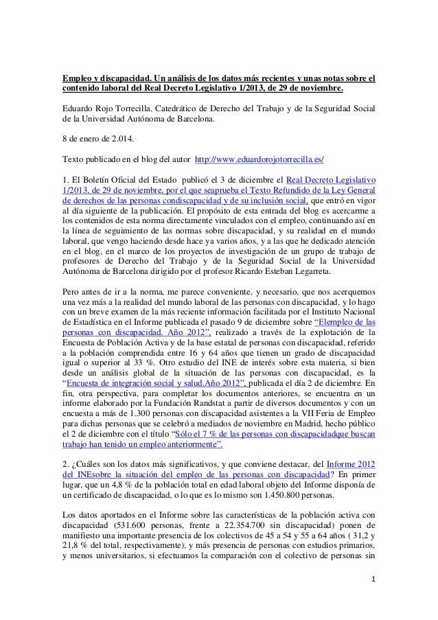Empleo y discapacidad. Un análisis de los datos más recientes y unas notas sobre el contenido laboral del Real Decreto Leg...
