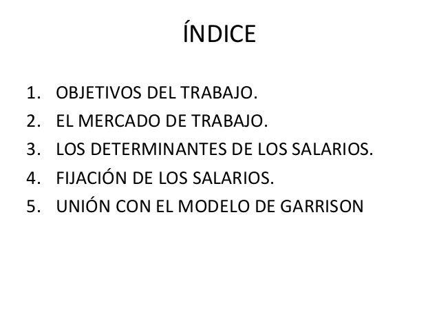 ÍNDICE 1. OBJETIVOS DEL TRABAJO. 2. EL MERCADO DE TRABAJO. 3. LOS DETERMINANTES DE LOS SALARIOS. 4. FIJACIÓN DE LOS SALARI...