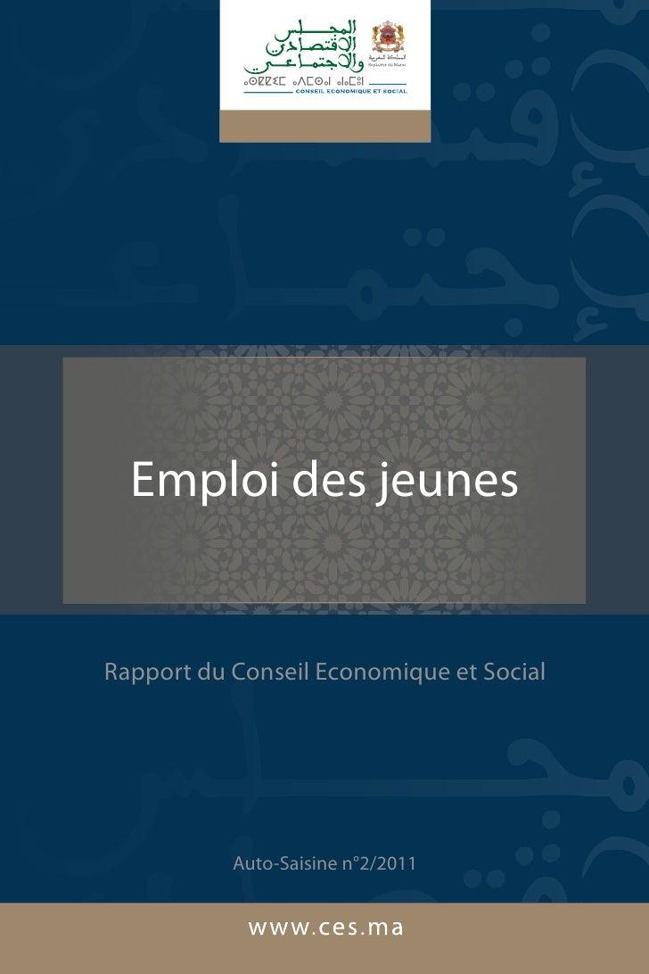 Emploi des jeunesRapport du Conseil Economique et Social           Auto-Saisine n°2/2011