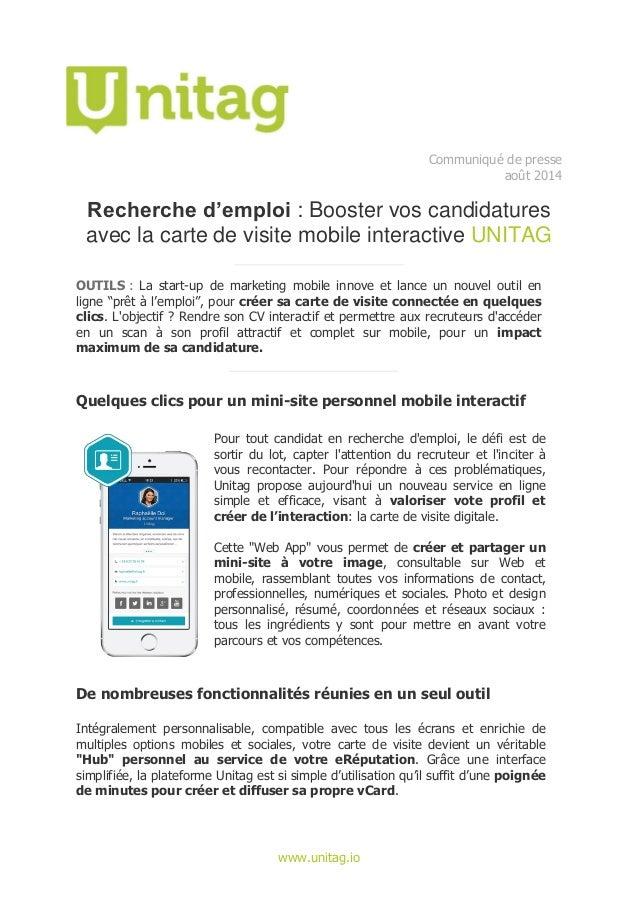 Unitagio Communique De Presse Aout 2014 Recherche Demploi Booster