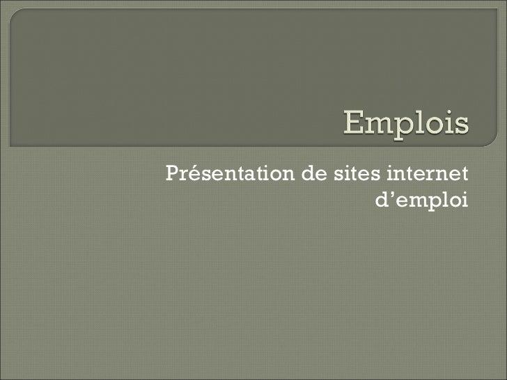 Présentation de sites internet d'emploi