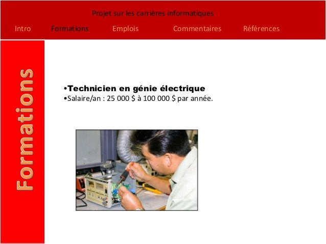 Projet sur les carrières informatiquesIntro   Formations         Emplois            Commentaires    Références           •...