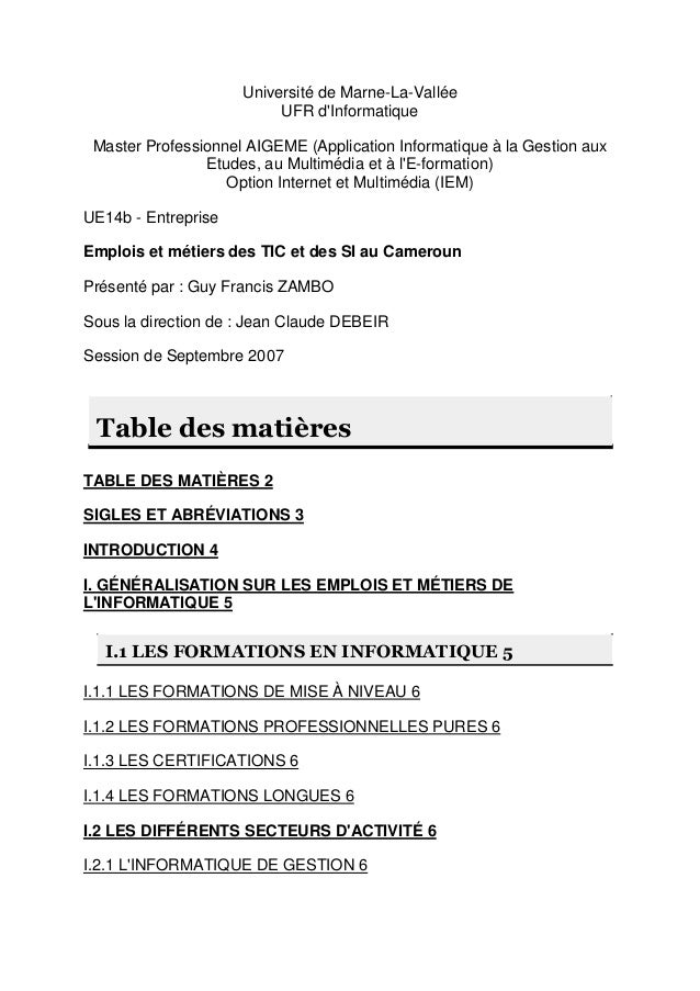 Université de Marne-La-Vallée UFR d'Informatique Master Professionnel AIGEME (Application Informatique à la Gestion aux Et...
