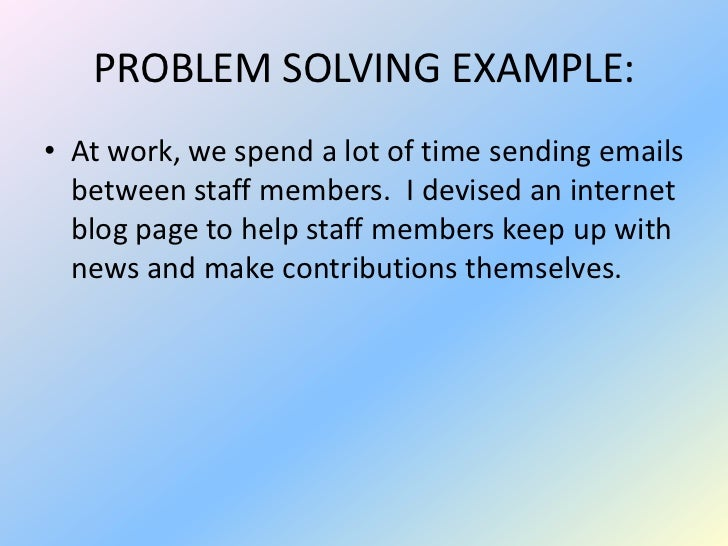 problem solving at work examples