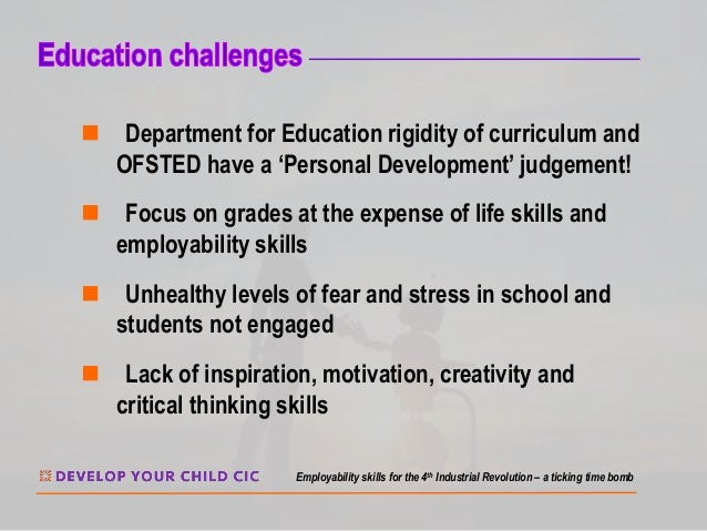 n Department for Education rigidity of curriculum and OFSTED have a 'Personal Development' judgement! n Focus on grades at...