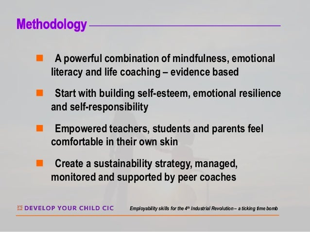 n A powerful combination of mindfulness, emotional literacy and life coaching – evidence based n Start with building self-...