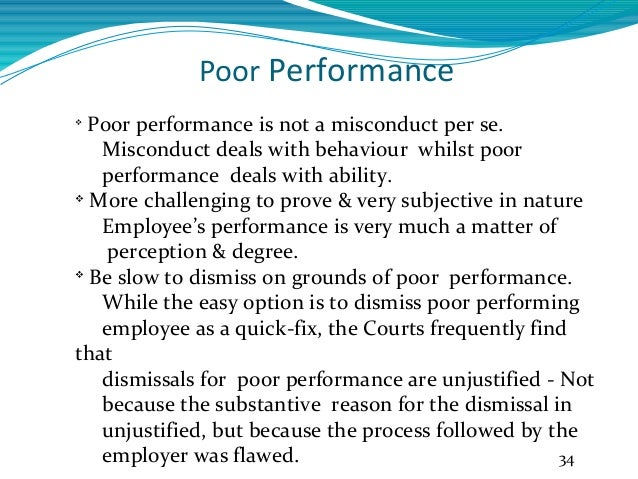 poor performance guidelines and performance templates