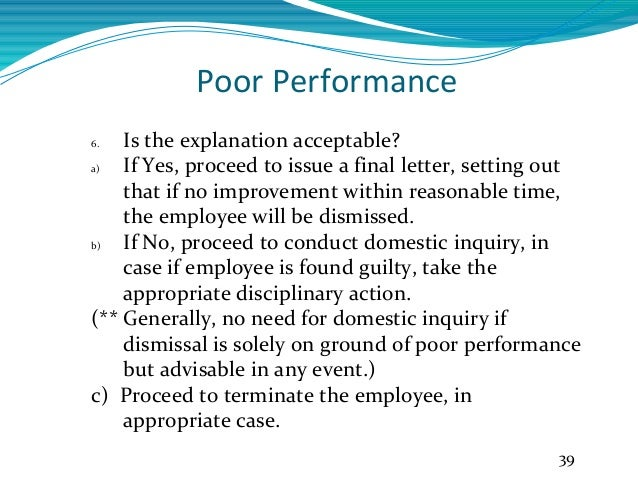 unsatisfactory work performance letter