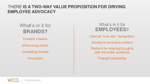 THERE IS A TWO-WAY VALUE PROPOSITION FOR DRIVING  EMPLOYEE ADVOCACY  What's in it for  BRANDS?  Content creation  Influenc...