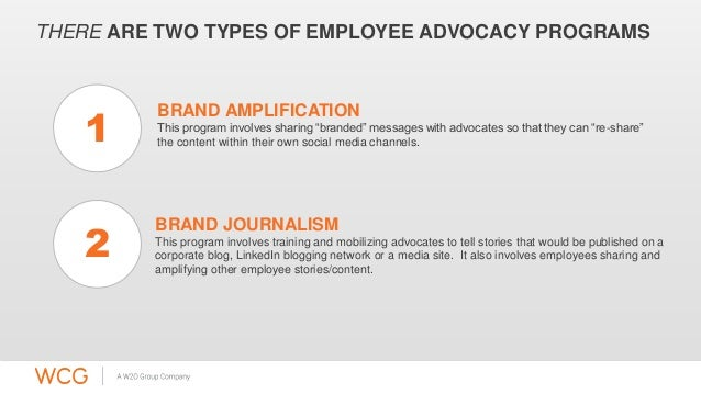 "THERE ARE TWO TYPES OF EMPLOYEE ADVOCACY PROGRAMS  BRAND AMPLIFICATION  This program involves sharing ""branded"" messages w..."