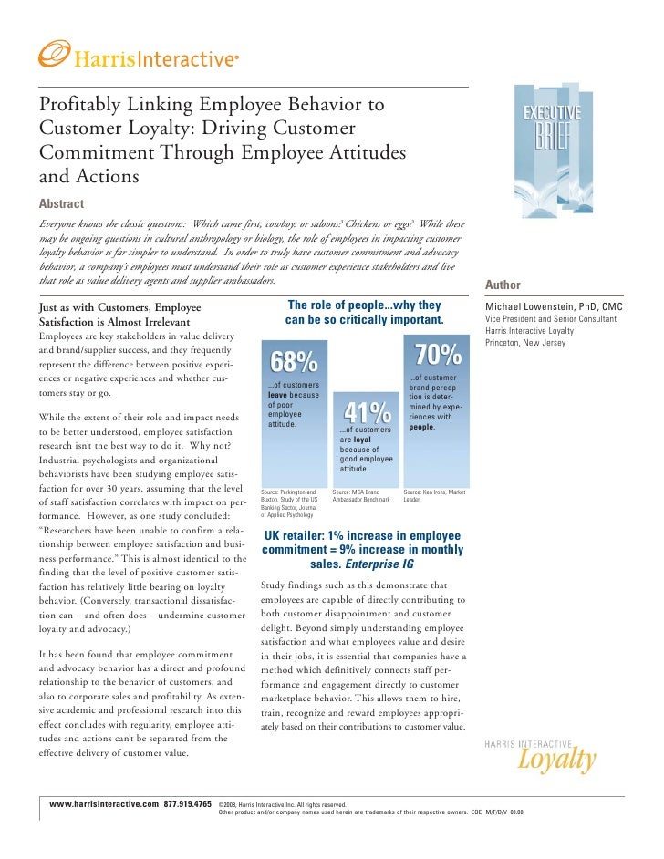 Profitably Linking Employee Behavior to Customer Loyalty: Driving Customer Commitment Through Employee Attitudes and Actio...
