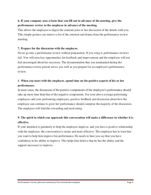 Performance Review Phrases Comments/ Free Download Examples Page 3; 4.