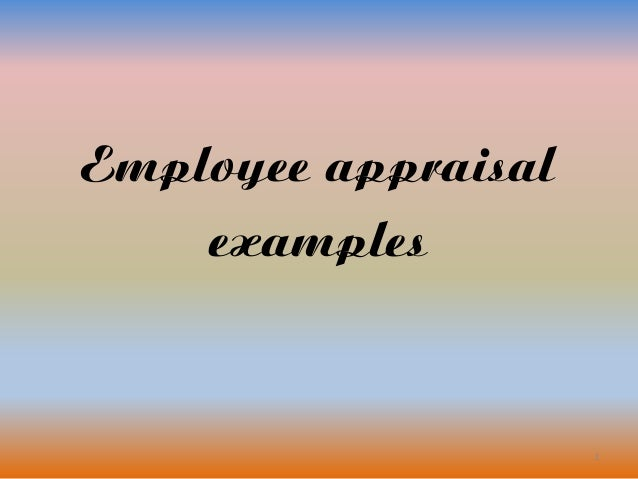 1 Employee appraisal examples