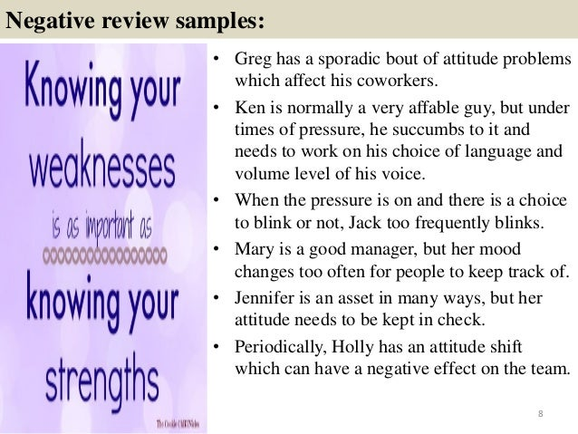 employee evaluation strengths and weaknesses examples