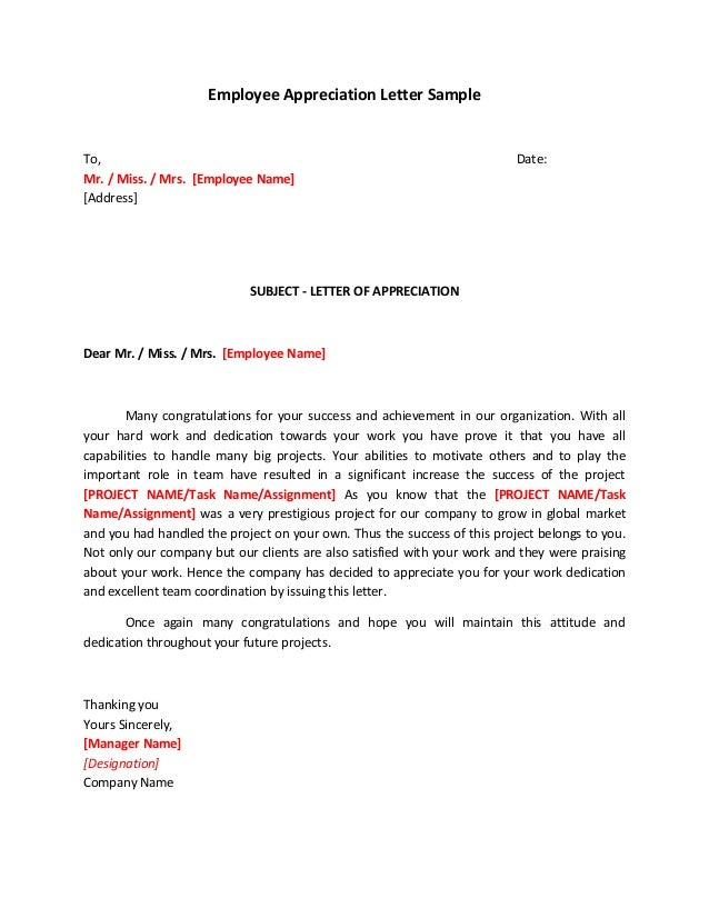 Employee Appreciation Letter Sample To Mr Miss Mrs