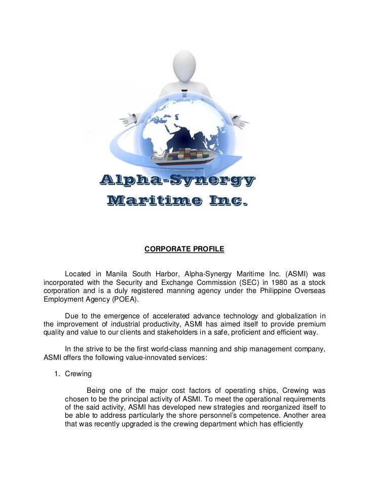 Alpha-Synergy                    Maritime Inc.                                CORPORATE PROFILE      Located in Manila Sou...