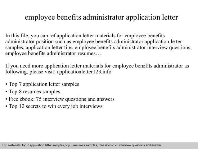 Benefits Administrator Resume Cover Letter. benefits administrator ...
