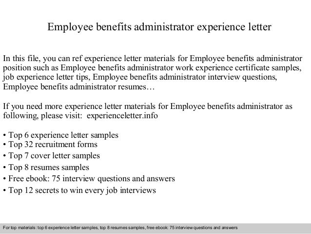 Employee Benefits Administrator Experience Letter In This File, You Can Ref  Experience Letter Materials For ...