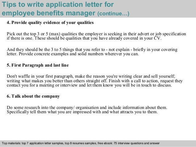 ... 4. Tips To Write Application Letter For Employee Benefits Manager ...