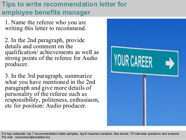 3 tips to write recommendation letter for employee benefits manager