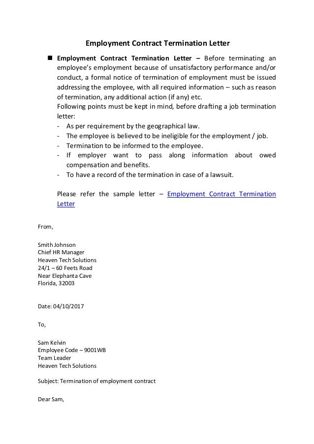 What Is Employment Contract Termination Letter Sample