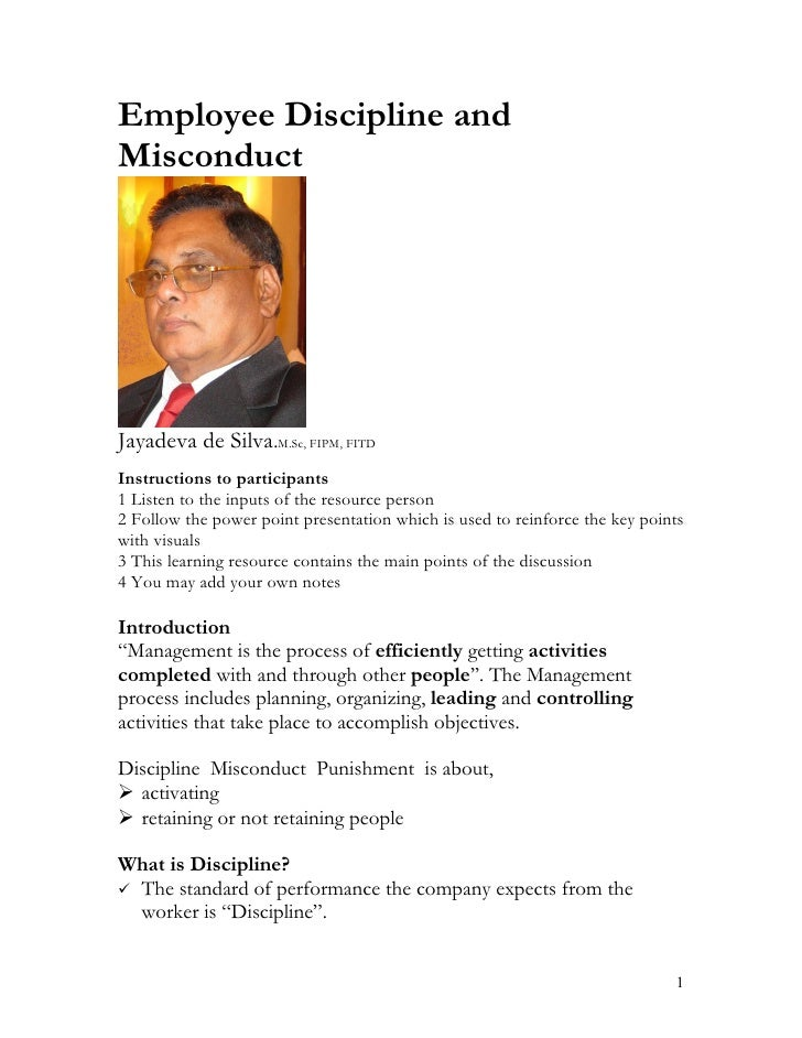 Employee discipline and misconduct