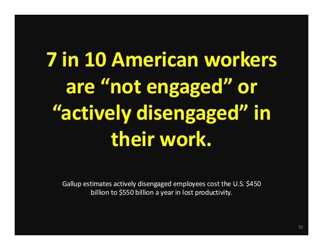 """7in10Americanworkers are""""notengaged""""or """"activelydisengaged""""in theirwork. Gallupestimatesactivelydisengaged..."""