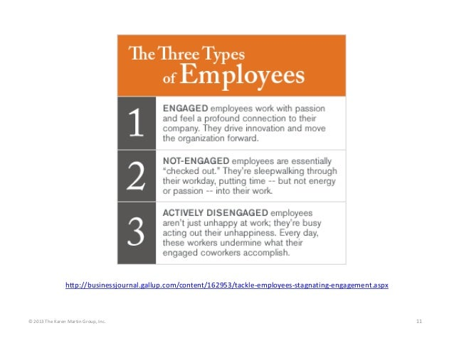 http://businessjournal.gallup.com/content/162953/tackle‐employees‐stagnating‐engagement.aspx  © 2013 The Karen Martin Grou...