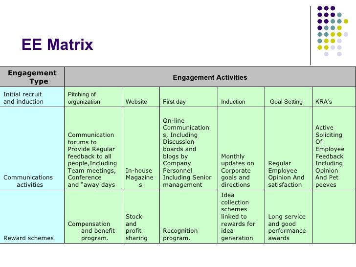 EE Matrix  Long service  and good  performance  awards Idea  collection  schemes  linked to  rewards for  idea  generatio...