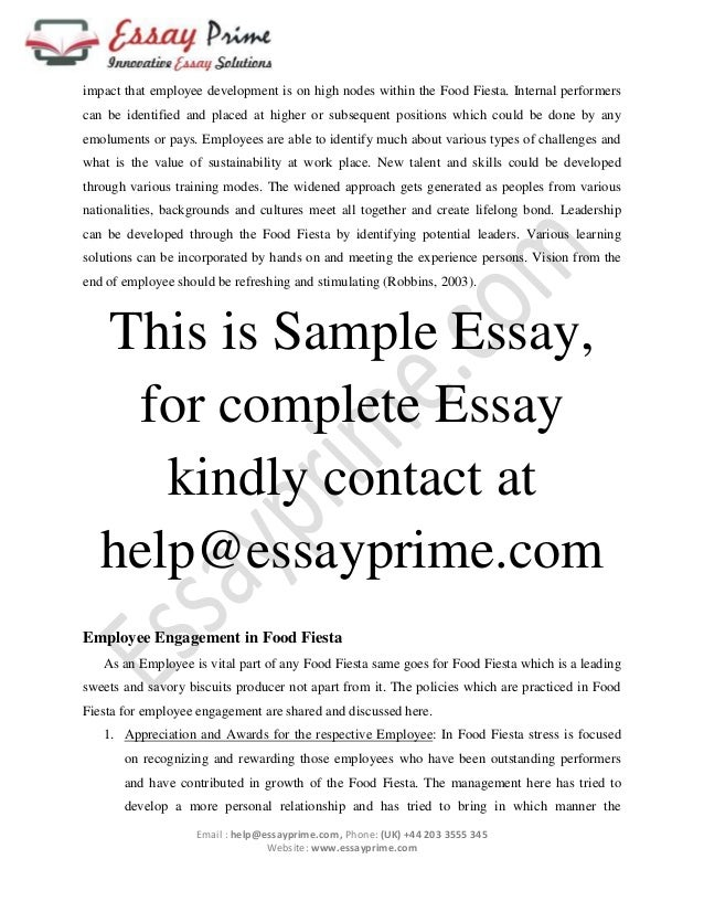 Employee Engagement Essay sample