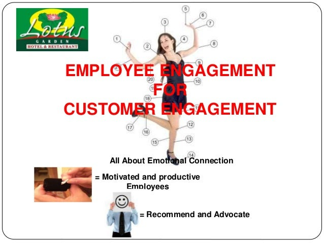EMPLOYEE ENGAGEMENT FOR CUSTOMER ENGAGEMENT = Motivated and productive Employees All About Emotional Connection = Recommen...