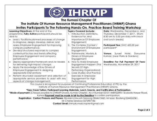 The Kumasi Chapter Of The Institute Of Human Resource Management Practitioners (IHRMP) Ghana Invites Participants To The F...