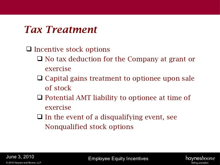 Taxation on incentive stock options