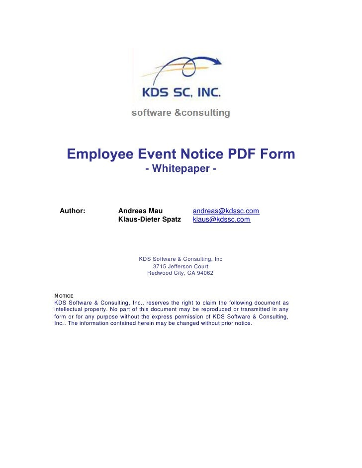 Employee Event Notice Pdf Form Whitepaper V1.0