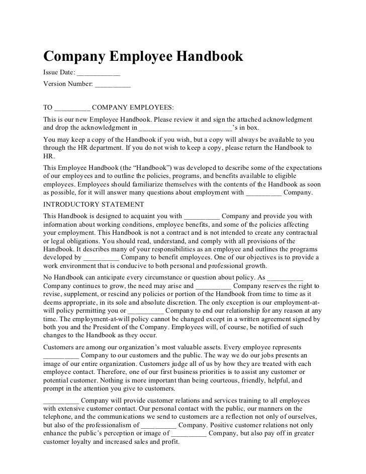 Employee hand book for Employee guidelines template