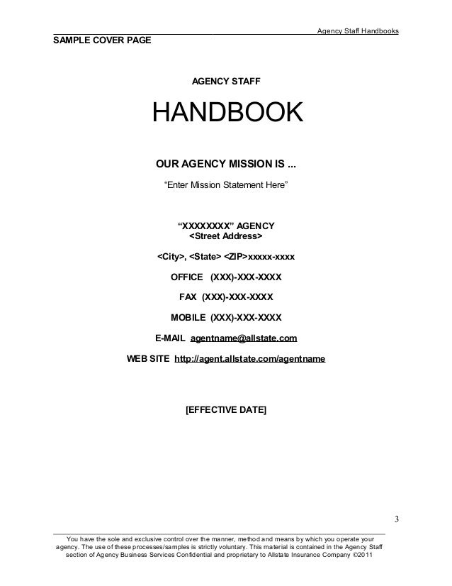 2 3 Agency Staff Handbooks SAMPLE COVER PAGE