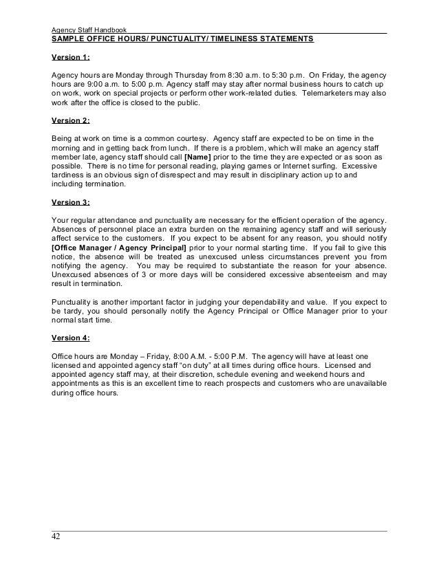 ... 42. Agency Staff Handbook SAMPLE ...